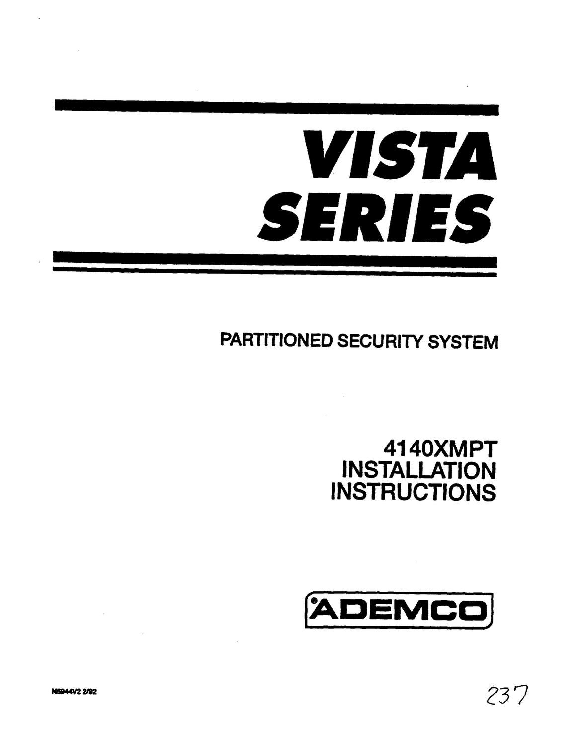 ademco vista 10p user manual